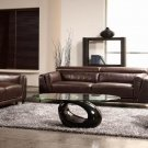 Espresso Crocodile Leather Sofa Set