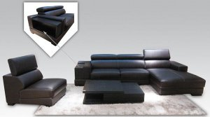 Espresso Leather Sectional Sofa