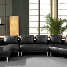 Mars Ultra Modern Black Leather Sectional Sofa