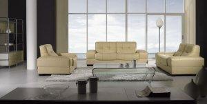 Modern Beige Leather Sofa Set