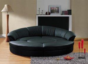 Modern Black Leather Circular Sectional Sofa