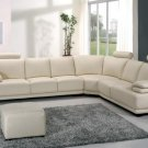 Modern Cream Leather Sectional Sofa