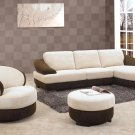 Modern Fabric Sectional, Chair and Ottoman