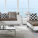 Modern White and Brown Living Room Set