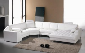 Monaco White Leather Sectional Sofa