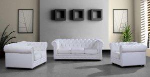 Paris 3 Modern White Leather Sofa Set