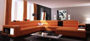 Polaris Contemporary Leather Sectional Sofa in Orange