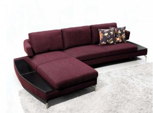 Purple Fabric Sectional Sofa