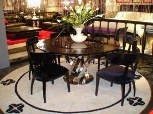 Round Black Crocodile Lacquer Table w Lazy Susan