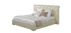 Tufted Leather Art Deco Style Bed