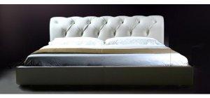 Sophia - White Leather Tufted Platform Bed