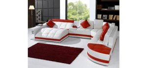 5012 - Modern Bonded Leather Sectional Sofa