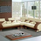 7392 - Modern Beige&Brown Leather Sectional Sofa