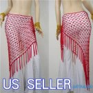 HAND MADE RED BELLY DANCE HIP MESH SCARVES