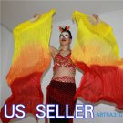 PAIRS 1.5M BELLY DANCE YELLOW TO RED 100%SILK FAN VEILS