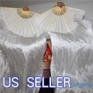 PAIRS 1.5M BELLY DANCE WHITE 100%SILK FAN VEILS