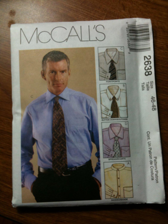McCall's 2638 Men's Shirt Size 50-52