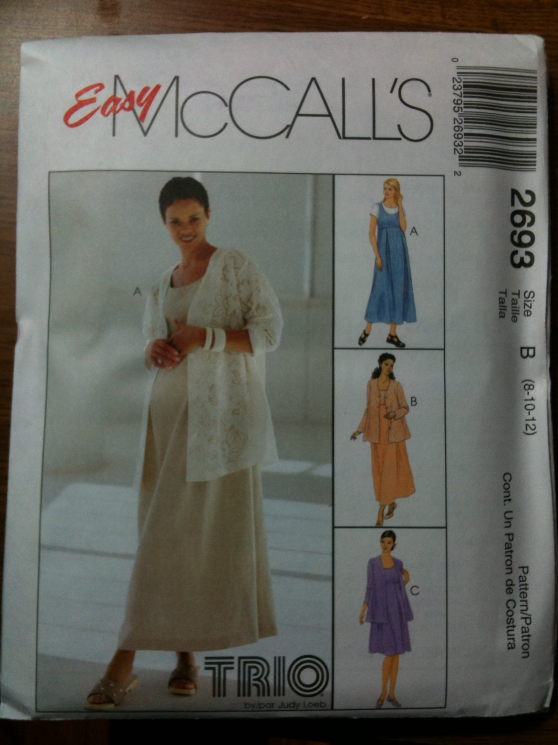 McCall's 2693 Maternity Unlined Jacket and Dress or Jumper in Two Lengths Size B 8-10-12
