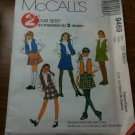 McCall's 9469 Children's and Girls' Skirt and Lined Vest Sets Size CI 8-10-12