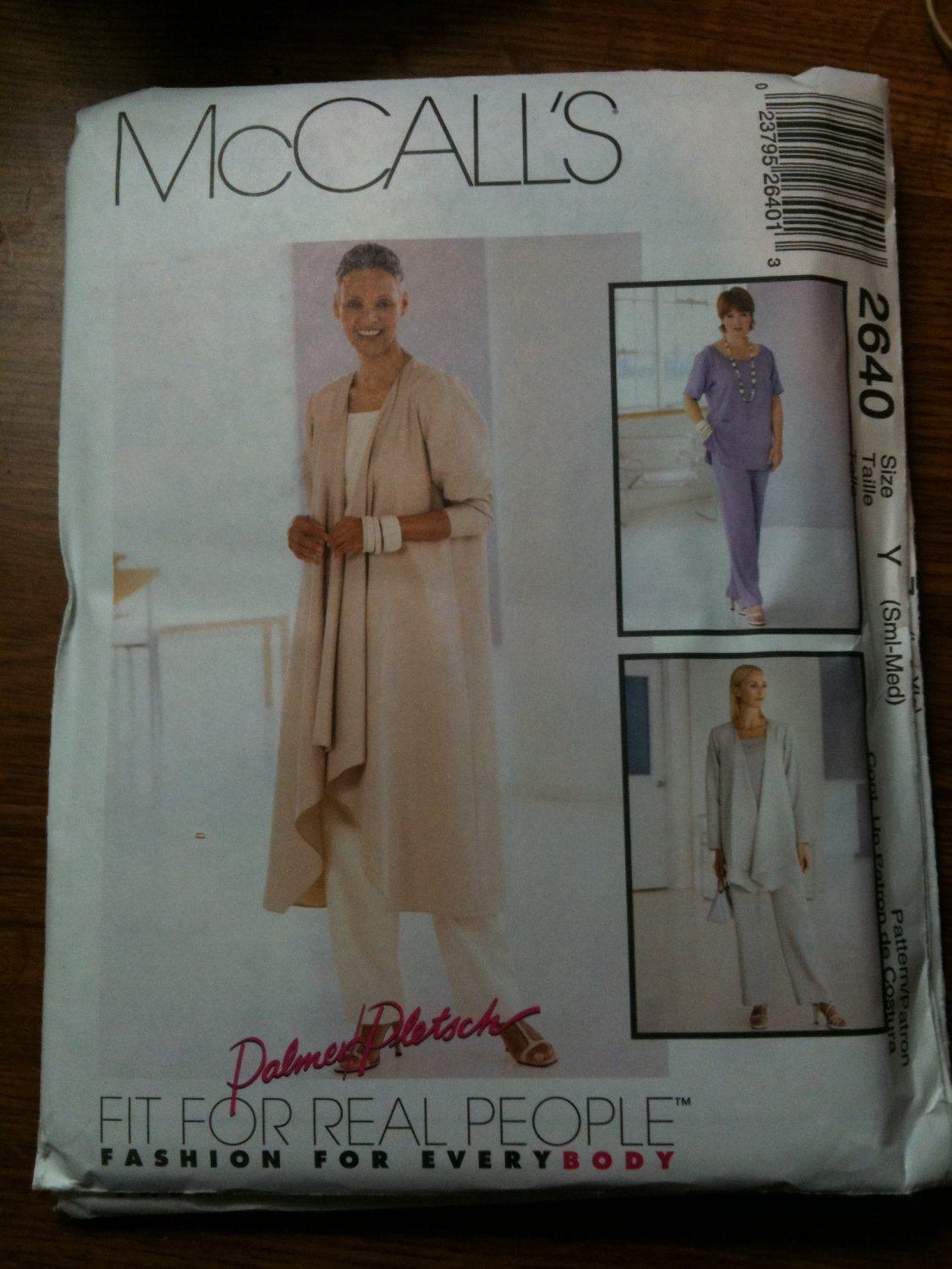McCall's 2640 Misses' Jacket in Two Lengths, Top and Pull-On Pants Size Y SM-M