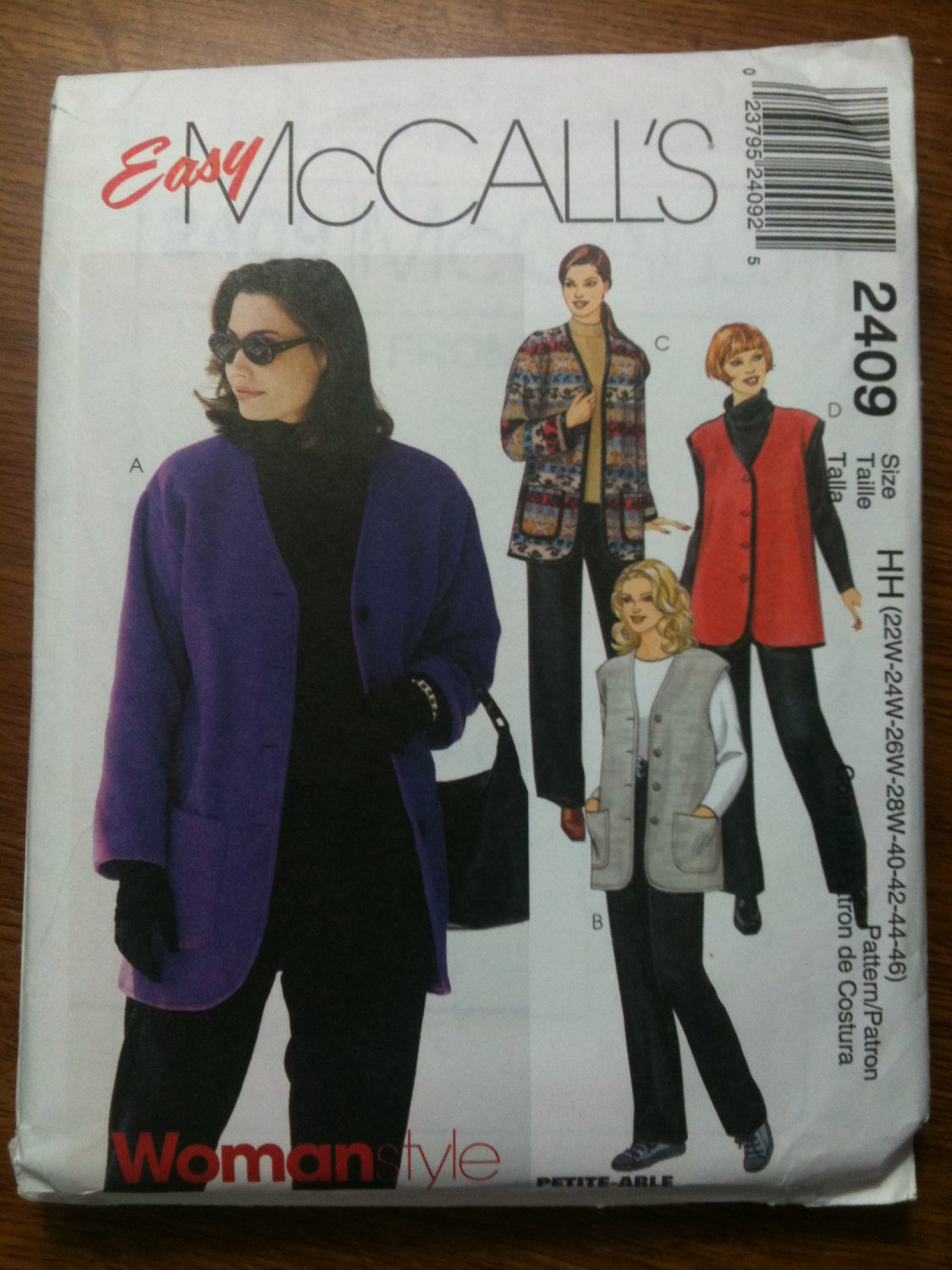 McCall's 2409 Women's Unlined Jacket, Vest and Pull-on Pants Size HH