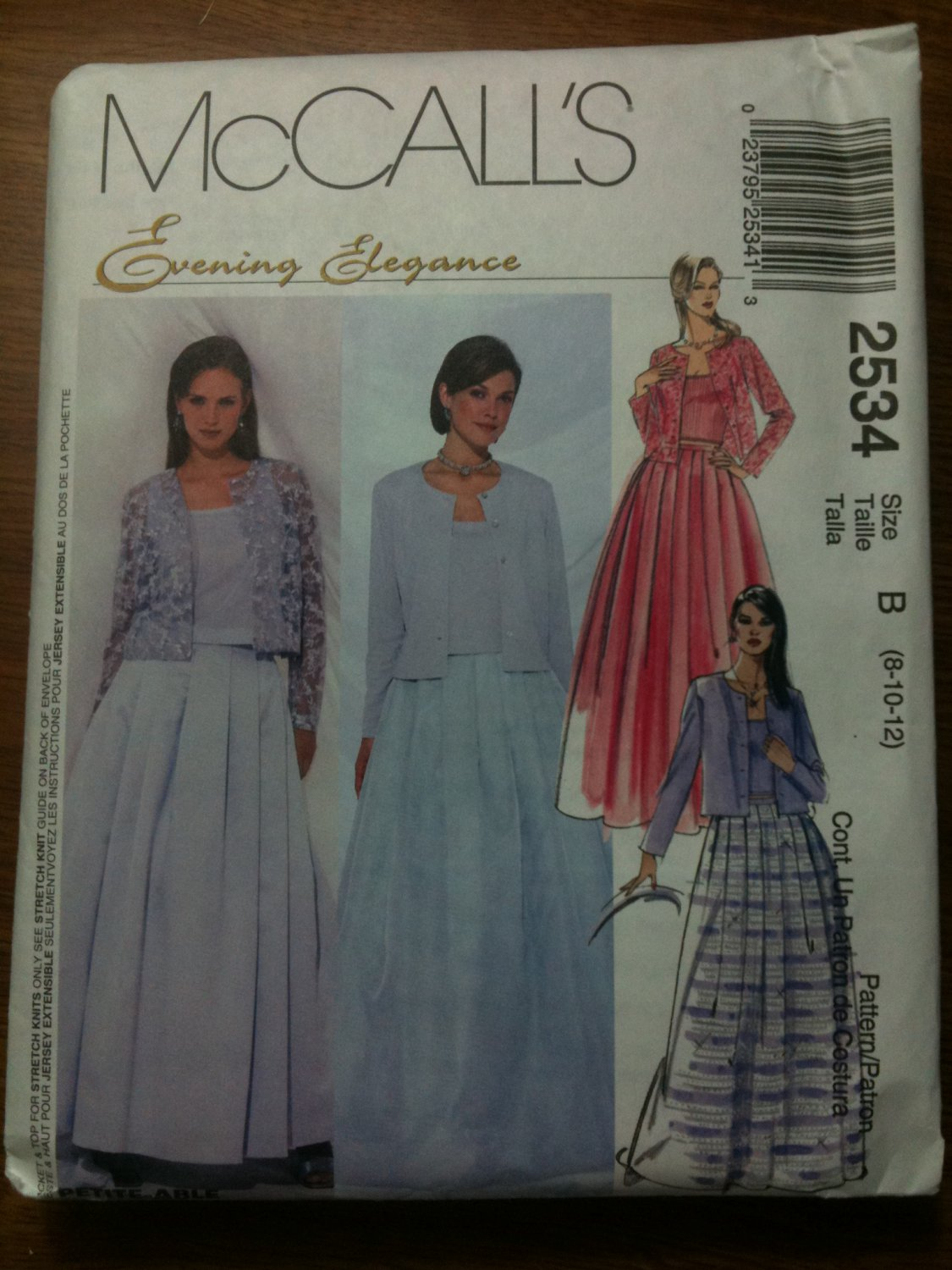 McCall's 2534 Misses' Unlined Jacket, Top in Two Lengths and Skirt Size C 10-12-14