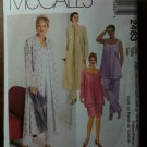 McCall's 2483 Women's Unlined Duster, Top, Pull-on Pants and Skirt Size RR