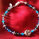 Blue Swarovski Crystal Sun/Moon Charm Bracelet