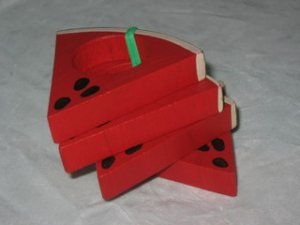 Wooden Watermelon Napkin Rings Set Summer Red Green