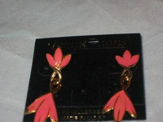 Gold Pink Twisted Lily Dangle Earrings Costume Enamel