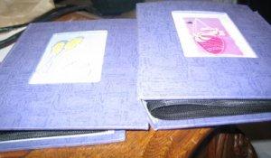 2 Purple Girls Photo Albums Vintage Style Cut Outs