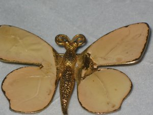 Butterfly Gold Pin Brooch Enamel Vintage Style Costume