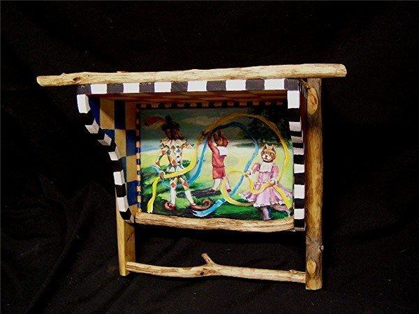 Artist Handpainted Folk Art Wood Wall Shelf / Towel Rack with Sticks