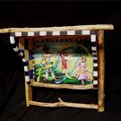 Artist Handpainted Folk Art Wood Wall Shelf / Towel Rack with Sticks
