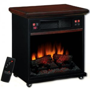 "Infared Quartz 20"" Electric Heater Air Purifier Rolling Fireplace"