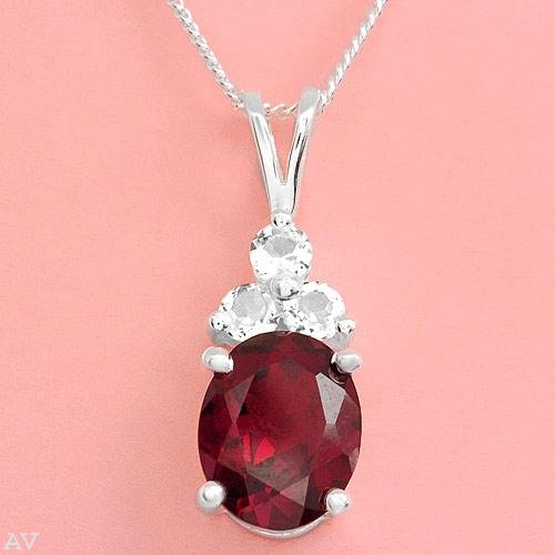 Garnet and Topaz Necklace with Sterling Silver Chain NEW