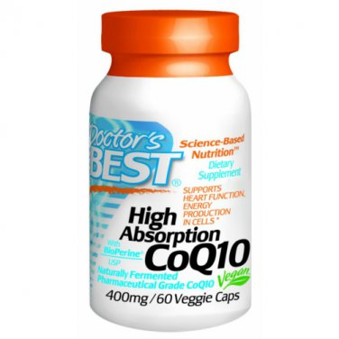 Doctor's Best High Absorption CoQ10 400 mg 60 Capsules w Bioperine