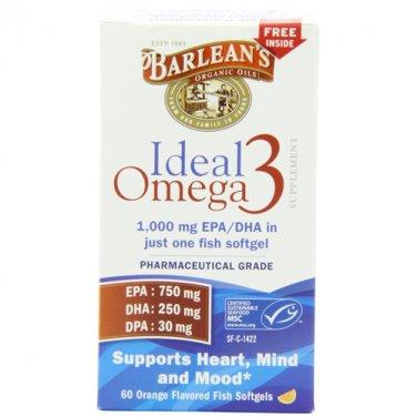Barlean's Organic Oils Ideal Omega-3 1000mg EPA/DHA, Orange Flavor, 60 Count