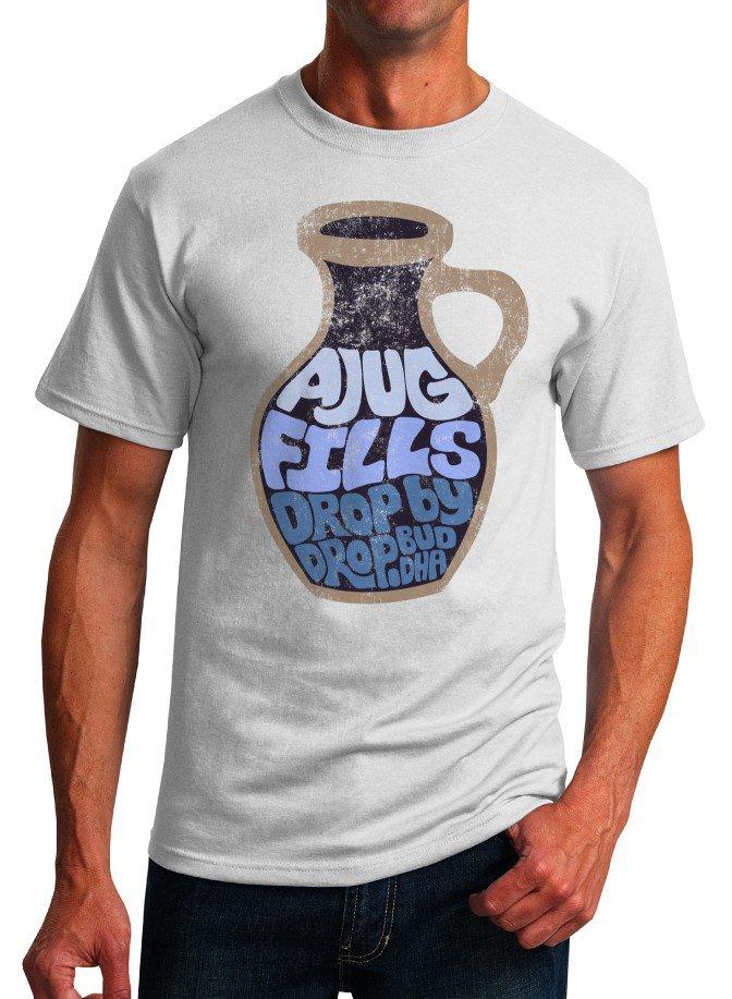 Buddha Inspirational Quote T-Shirt - A Jug Fills - Size S - Unisex White