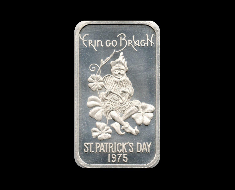 1975 St. Patrick's Day Silver Art Bar, 1 Troy Ounce, .999 Fine