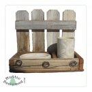 Reclaimed Barnwood Primitive Rustic Bath Countertop Holder w/ Soap Dish & Tumbler - Sand Color Leaf