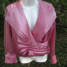 Retro Coral Pink Blouse with Layerd/RuffledLapel(Jessica Howard)