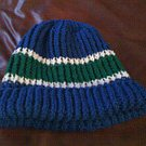 blue white and green knit cap hoodie hat beanie