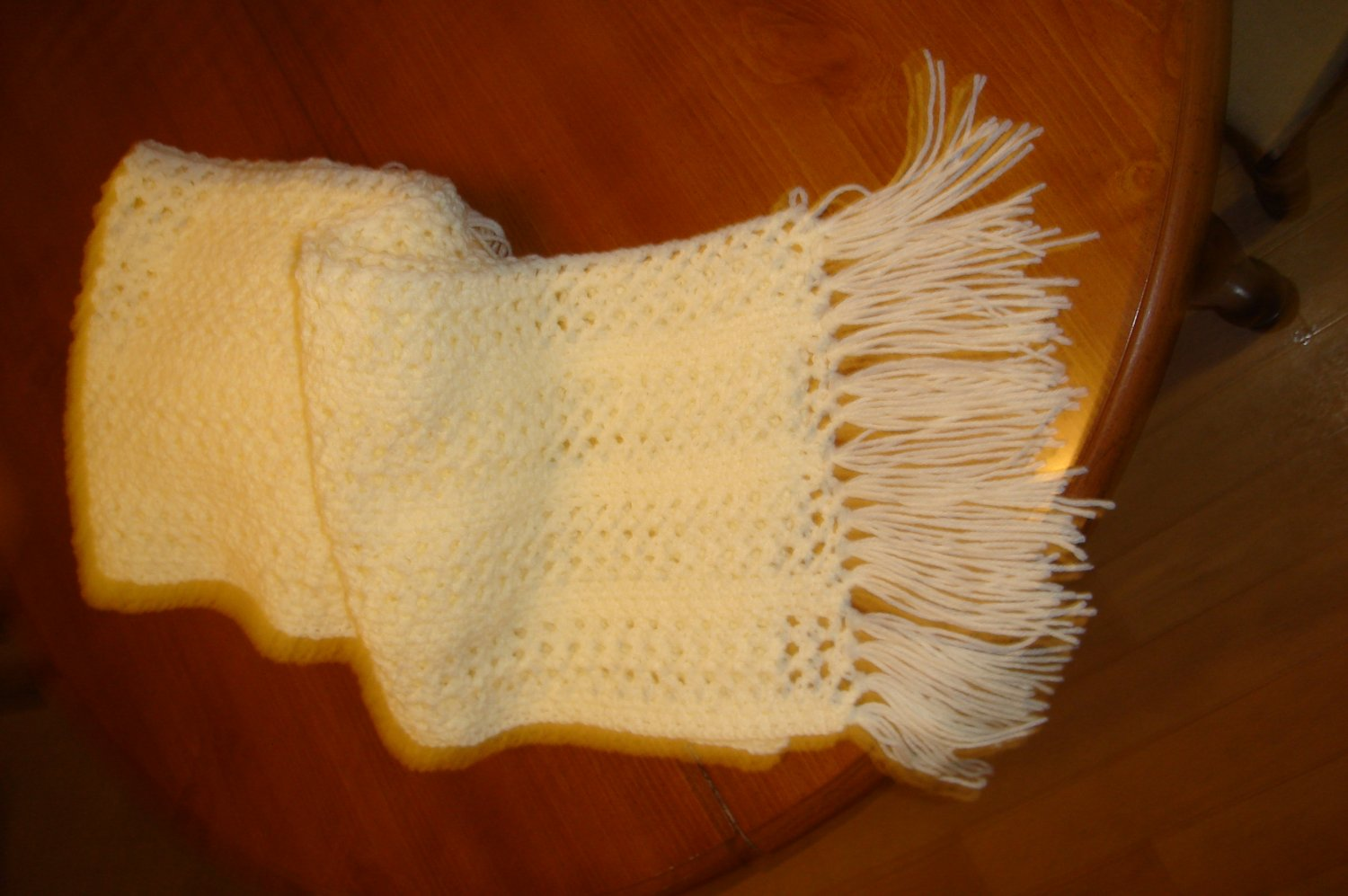 Crocheted Cream lace scarf