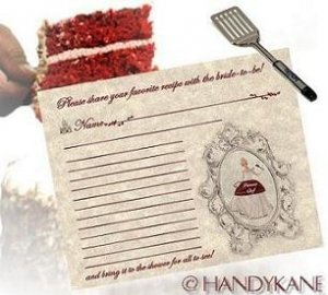 Cinderella Wedding Bridal Shower Favors Recipe Cards