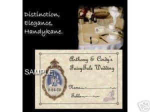 FairyTale princess Wedding party Favors Place Cards
