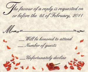 Red Heart Rose Petal Wedding Favor Response Cards