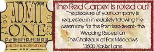 Hollywood Movie Wedding Reception Mini Tickets style B