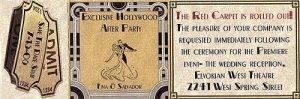 Hollywood Movie Wedding Reception Mini Tickets style A