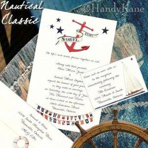 NAUTICAL Anchor Sailing Ocean Wedding Invitations +